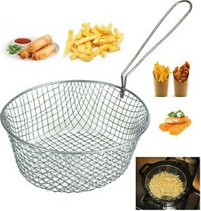 """8"""" / 9"""" ROUND FRYING CHIP PAN WIRE MESH BASKET WITH HANDLE FRYER STRAINER FRIES"""