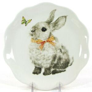 "NEW Pier 1 Imports BUNNY PALS 8.5"" Salad Plate Rabbit Orange Ribbon Butterfly"