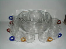 Duncan & Miller Crystal CARIBBEAN Punch Bowl & 11 Cups w Multi Colored Handles