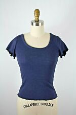 Abercrombie & Fitch Blue Scoop Neck Lettuce Edge Fitted T-Shirt Tee