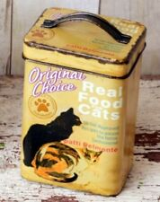Cat Treats Canister Tin Food Storage Vintage Antique style Box Pet Supplies