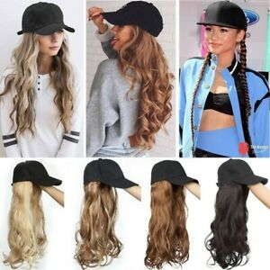 Women Baseball Cap Hat with Synthetic Hair 22inch Long Straight Curly Wavy Wig