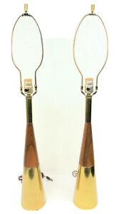 Westwood Tony Paul Brass & Walnut Mid-Century Modern Table Lamps - Pair