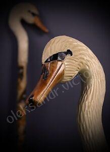 Swan Hand Carvin Canes Walking Sticks Wooden Unique Handmade Cane Vintage *