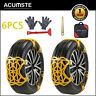 6PCS Snow Tire Chains for Car SUV Thickened Anti-skid Emergency Strap TPU Yellow