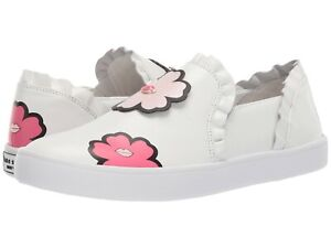 Kate Spade New York Lima Sneaker White Leather Floral Lips Slip On Shoe Size 10
