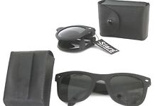 1 PAIR  MATT BLACK FOLDING SUNGLASSES W/GREEN LENSES  100UV PROTECTION
