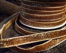 Gold Glitter Velvet Ribbon - 5 Yards - 3/8in