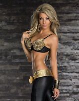 WOMENS TOP BRA SHIRT LADIES PARTY GOLD SPIKED CLUBBING BLOUSE SIZE 6 8 10 S M