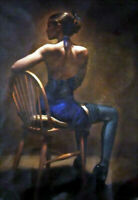 CHENPAT1491 100% hand painted oil painting dancing girls on chair art on canvas