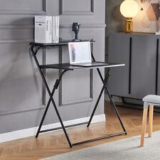 2-Layer Folding Desk Home Corner Desks Computer Desk Office Laptop Table Black