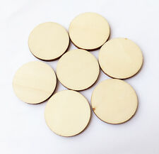 30pcs Unfinished Wooden Round Circle Disc Embellishments Wedding Art Craft 40mm