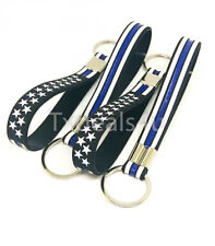 4 Thin Blue Line Silicone Keychains Key Ring Police Law Enforcement Support USA