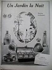 PUBLICITE DE PRESSE PARFUM ARYS UN JARDIN LA NUIT FLACONS FRENCH AD 1922