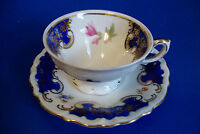 Cute Bavaria Footed Coffee Cup & Saucer - Gold Trim