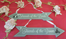 2 Vintage Chic Church Wedding Seating Pew Signs Bride Groom Guest Arrows Arrow