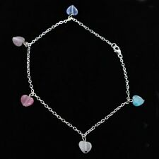 GORGEOUS 5 HEART CHARM 925 STERLING SILVER CHAIN ANKLETS ANKLE BRACELET NEW GIFT
