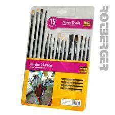 Pinsel-Set 15-teilig Borstenpinsel und Haarpinsel Schulmalpinsel Schulpinsel Neu