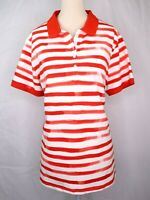 Lands End Red White Striped Polo Shirt Womens Size XL 18 Short Sleeve Top Blouse