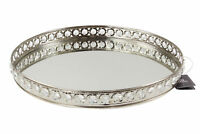 Mirrored Oval Glass Plate Votive Tealight Candle Holder Tray Centre Piece Silver