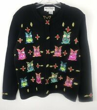 Jack B Quick Owl Sweater Women's embellished beads sequins embroidered medium