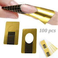 Hot 100Pcs Golden Nail Art Accessories Forms Guide Stickers Tool Acrylic UV Gel