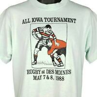 Des Moines Rugby T Shirt Vintage 80s All Iowa Tournament Made In USA Size Large