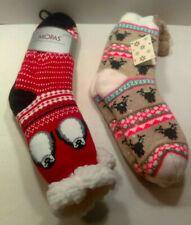 2 NEW THICK PLUSH COZY SOCKS Women Winter Thermal SLIPPER Lined PELICAN DEER