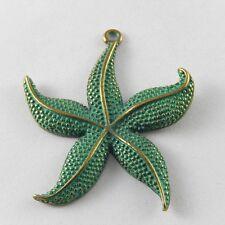 5pcs Vintage Bronze Patina Color Alloy Starfish Charms Pendant Jewelry 48x43x3mm