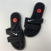 Nike Womens Slides Sandals Black White Logo Comfort Footbed Flat Heel Slip On 6