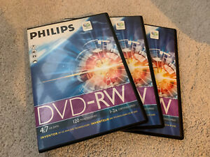 3x Philips DVD-RW Discs Cased