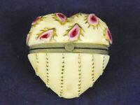 Enamel & Metal Puffy Heart Trinket Pill Box Pink Ivory Gold 1 3/4 Inch Tall