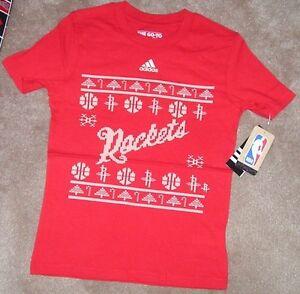 NEW NBA Houston Rockets Youth Boys Holiday Christmas T Shirt ADIDAS S Small 8 NW