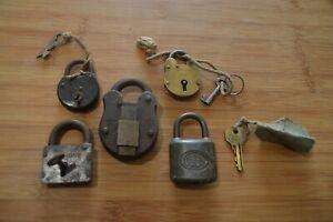 5 Old / Antique / Vintage / Rusty Padlock / Locks / With Keys