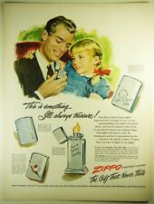 Vintage 1949 ZIPPO WINDPROOF LIGHTER Full-Pg Lg Magazine Print Ad: GIFT FOR DAD