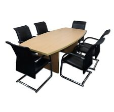 New 2m x 1m Beech Boardroom Table With 6 x JF Nott Leather/Mesh Chairs*£670+VAT*