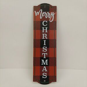 Merry Christmas Sign Plaque Red and Black Plaid Green Trim White Lettering