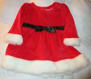 LITTLE/WONER~girl~CHRISTMAS/RED/VELOUR/WHITE/FAX/FUR/DRESS! (3/6/MO) NEW! CUTE!