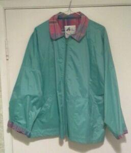 Vtg. Misty Harbor Original  Green W/ Plaid Ladies Rain  Jacket Size XL