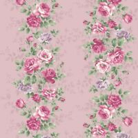 Sweet Rose~ Rose Bouquets Border Pink - Cotton Fabric by Quilt Gate