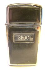 Very Nice Zippo Slim Engraved SPOC Black Cover Lighter Sparking Well