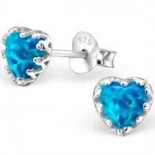 925 Sterling Silver Opal Stud Earrings Semi GEMSTONES Blue Quality UK Jewellery