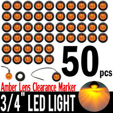 "50pcs Amber 12V 3/4"" LED Round Side Marker Clearance Light Truck Trailer Boat"