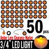"50X Mini 3/4"" Amber LED Clerance Bullet Marker Lights Lamps Truck Trailer Bus"