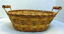 "Oval Wicker Basket with Wood Handles 11"" x 9"""