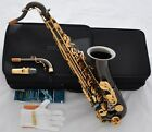 Professional Black Nickel C Melody Sax Saxophone With ABALONE Key High F# 2-Neck