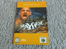 WCW MAYHEM Instruction Manual Booklet Only for Nintendo 64 N64 Free Shipping!