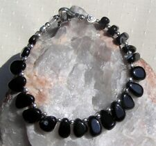 "Black Sardonyx & Sterling Silver Crystal Gemstone Bracelet ""Midnight Veil"""