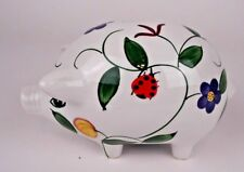 White Ceramic Piggy Bank with Flowers Butterflies Lady Bugs with Plug Coin Bank