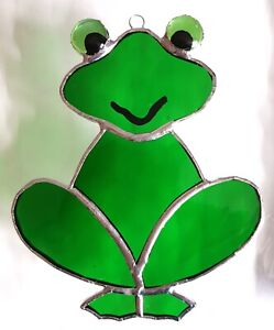Green FROG Stained glass suncatcher window wall hanging fish pond wildlife